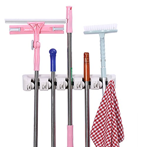 SeaTrade Wall Mounted Mop and Broom Holder, 5 Position with 6 Hooks Storage Solutions for Broom Holders, Garage Storage Systems Broom Organizer for Garage Shelving Ideas by SeaTrade