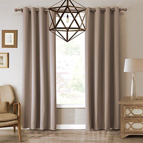 Sxshome Noise Reducing Room Darkening Blackout Thermal Insulated Treatment Window Curtains Panel and Drapes for Bedroom and Living Room(52 By 84 Inch,1 Panel,tan)