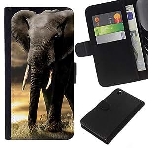 KingStore / Leather Etui en cuir / HTC DESIRE 816 / Trompa de Elefante Sunset Africa Indian Colmillo