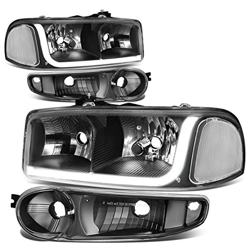 (For GMC 01-07 Sierra / 01-06 Yukon Denali LED DRL Light Strip Black Housing Headlight+Bumper Lamp)
