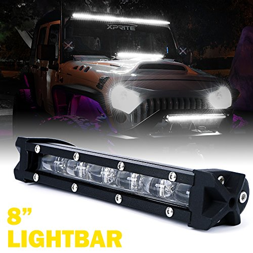 Xprite Ultra Thin Single Row Slim LED Light Bar, 8