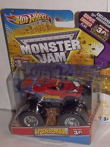 2012 HOT WHEELS SPIDERMAN MONSTER JAM TRUCK 1:64 GRAVE DIGGER 30TH ANNIVERSARY  WITH EXCLUSIVE 30TH ANNV. GRAVE DIGGER FLAG