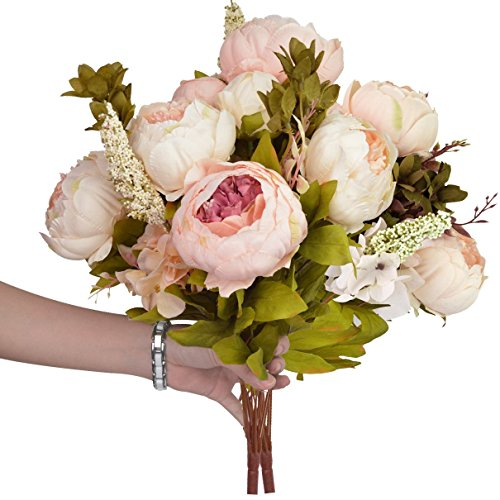 Hmxpls Vintage Artificial Peony Silk Flowers Bouquet, Craft Fake Flowers Floral Decor Glorious Moral for Home Dining-Table Hotel DIY Party Marriage Wedding Christmas Decoration (Light Pink) (Peony Bouquet Wedding)