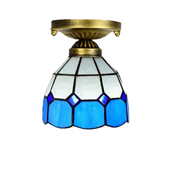 Tiffany Style Ceiling Lights 6 Inch Blue Mediterranean