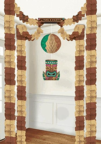 20' Island Decor (Earthy Summer Luau Party Tiki All-In-One Hanging Decoration, Paper)
