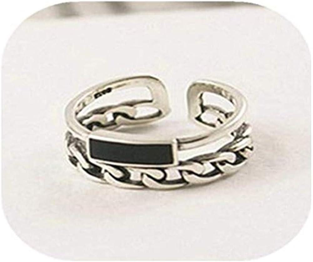 Accesorios hechos a mano kakupao negro cuadrado ágata anillo, anillo trenzado de plata, anillo trenzado, banda de plata trenzada, banda de boda trenzada, anillo tejido, anillo de armadura