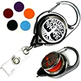 Decorative Aromatherapy Essential Oils Stainless Steel Diffuser ID Badge Holders (Tree of Life Carabiner)