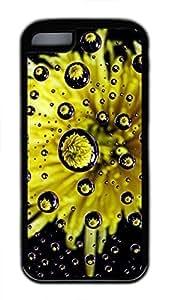 iPhone 5c case, Cute Flower Water Drop Reflection iPhone 5c Cover, iPhone 5c Cases, Soft Black iPhone 5c Covers