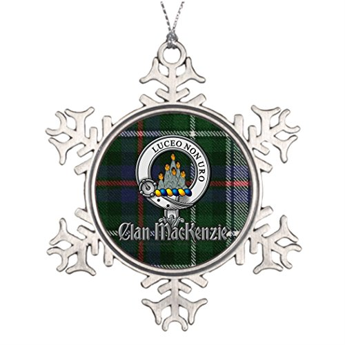 YOBSTF7s Xmas Trees Decorated MacKenzie-Dress Tartan Badge Classic Christmas Tree Decorations Mackenzie