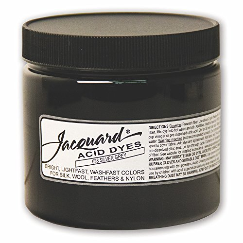 Jacquard Acid Dye for Wool, Silk and Other Protein Fibers, 8 Ounce Jar, Concentrated Powder, Silver Gray ()