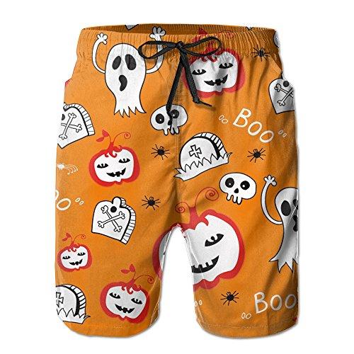 2017 Summer New Style Breathable Man Halloween Theme Drawstring Waist Cycling Beach Shorts Swim (Garlands Halloween 2017)