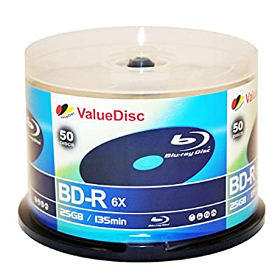 Value Disc BD-R 6X 25GB Blu-Ray 50 Pack Blank Discs in Spindle. Made in Taiwan from Value Disc