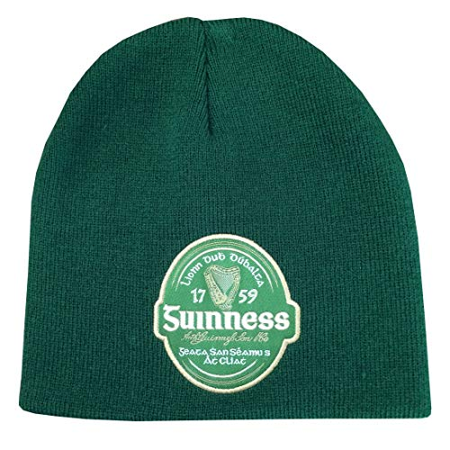 Guinness Bottle Irish Label Beanie Hat Green ()