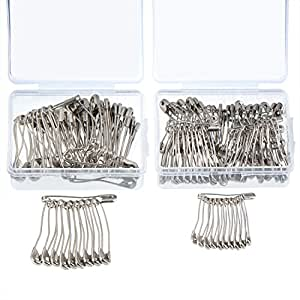 Outus 160 Pieces Curved Safety Pins Quilting Basting Pins with Plastic Cases, 2 Sizes, Nickel-plated Steel