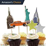 value pack 24 cupcake toppers picks various themes new york city