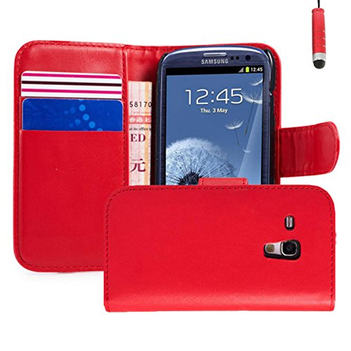 32nd® Book wallet PU leather case cover for Samsung Galaxy S3 Mini (S iii Mini) i8190 + screen protector, cleaning cloth and touch stylus - Red (Leather Samsung S3 Mini compare prices)