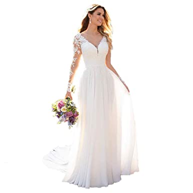 526fb4ce1a DUMOO Women s Beach Wedding Dresses with Long Sleeves Boho Chiffon Lace  Bridal Gown 2019 at Amazon Women s Clothing store