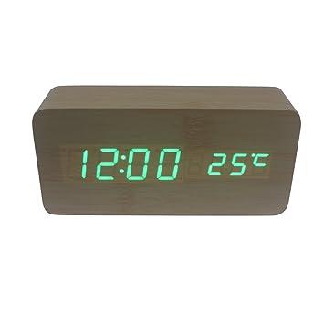 Dianoo oblongo de madera digital despertador, madera grano ...