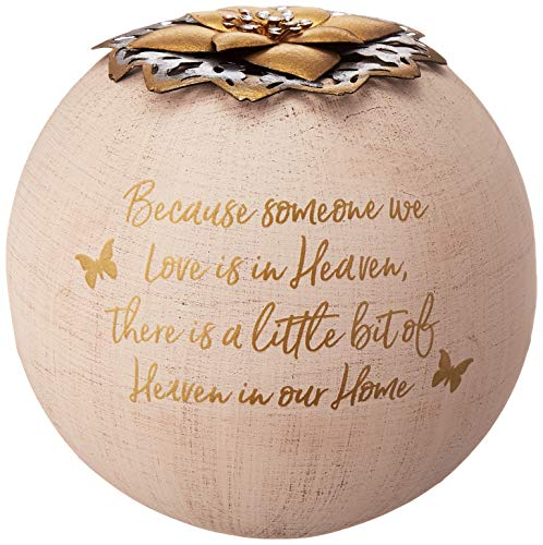 Pavilion Gift Company Round 5 Inch Tealight Candle Holder Because Someone We Love, Little Bit of Heaven in Our Home, 5.5 Inch Gold (Light A Candle In Memory Of Someone)