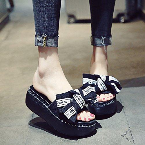 Mujeres el fankou Fresco Alto de una Bizcocho Talón puso Zapatillas Pajarita Las de y Visten de Elegante Negro Zapatos Gruesas pie Mujer Verano xwPYqwrg4