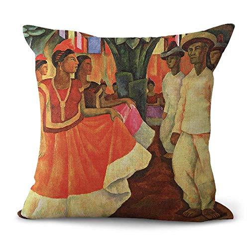 WholesaleSarong Tehauntepec Dance Diego Rivera Cushion Cover Cushions and Pillowcase Mexican Painter Artist Artwork Mexico Latino Art