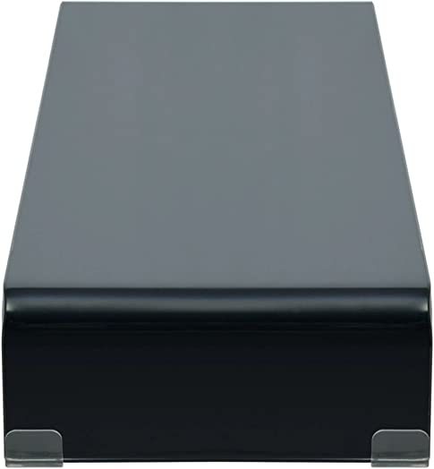 Festnight Corner TV Stand Black Tempered Glass Computer Monitor Riser