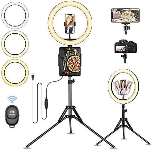 13 Zoll LED Ringlicht mit Stativ, Guiseapue Selfie Ringleuchte Handyhalter Stativ mit Ringlicht 3 Farbmodi 10 Helligkeit