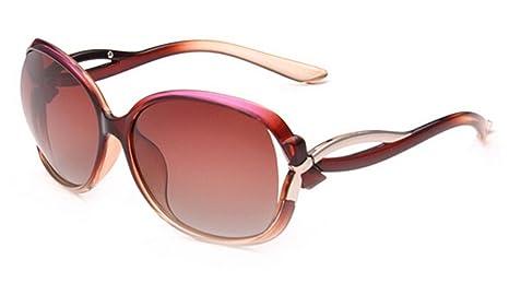 LEIDISEN Damen Shiny Wayfarer Stil Sonnenbrille UV400 Metall Rahmen Brillenetui Brillenbeutel Damenbrillen - Kaffee Rahmen 581XE7