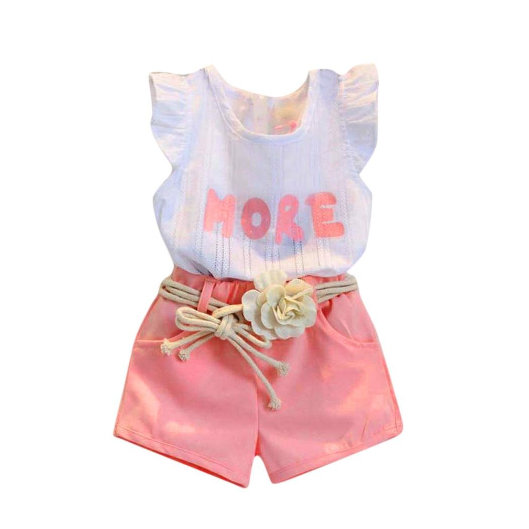 FeiliandaJJ Girls Clothes Set, 3Pcs Baby Kids Summer Cute Pink Letter Printed Sleeveless T-Shirt Tops Shorts Pants Outfits with Belt for 2 3 4 5 6 7 Years