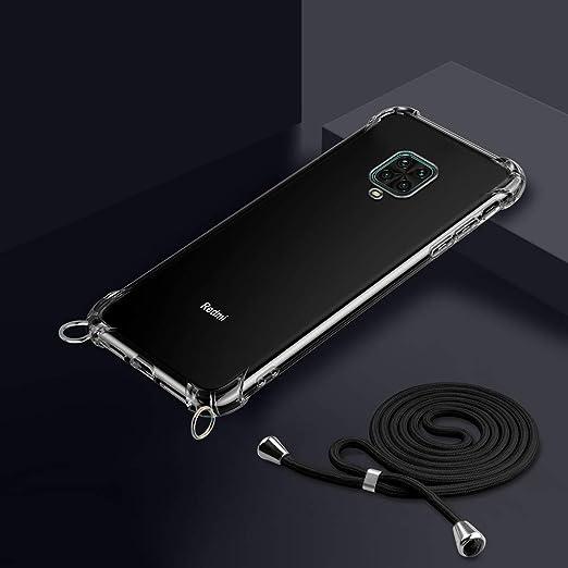 Etui de T/él/éphone avec Cordon Or Rose Collier pour Xiaomi Mi A3 Coque Transparente Silicone Housse avec Cordage Lanyard Case Tour de Cou Lani/ère en Corde