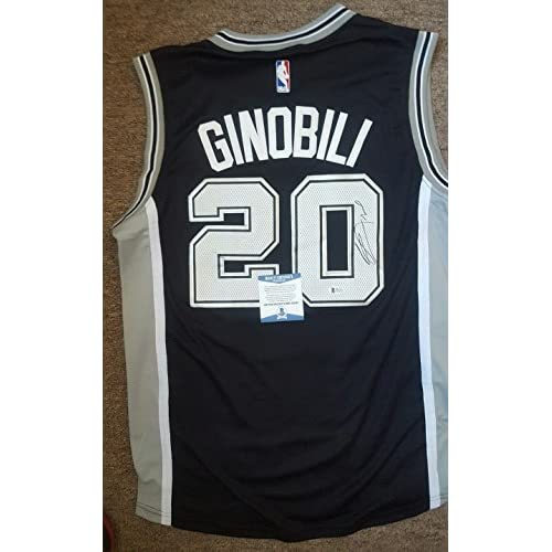 new style d2180 9a7b8 Manu Ginobili Autographed San Antonio Spurs Jersey with ...
