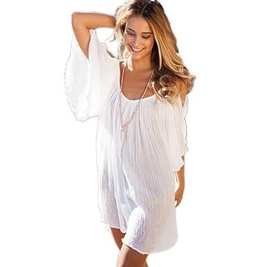 JOTHIN Damen Böhmen V-ausschnitt Schlinge Kurz Ärmel Kurzes Kleid  Sommerkleid Strandkleider-Form Shirt e1805b6f61