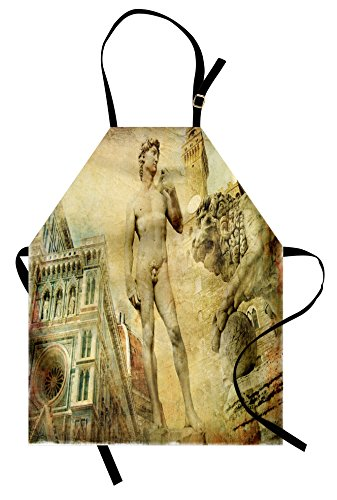 Ambesonne Italy Apron, Ancient Florence Art Collage Michelangelo David Renaissance, Unisex Kitchen Bib Apron with Adjustable Neck for Cooking Baking Gardening, Pale Yellow Pale Orange Mint (Michelangelo Renaissance Costume)
