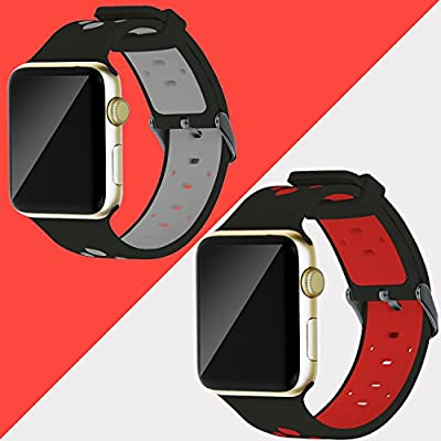 Oitom 42mm Soft Breathable Silicone Replacement Wristband Straps with Plated TPU Protective Case for Apple Watch Nike+,Series 1,Series 2,Sport,Apple Watch Edition M/L Size (Black 2 42mm)
