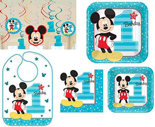 Amscan Boy's 1st Birthday Party Pack! Bundle of Plates, Napkins, Bib, and Hanging Decorations -