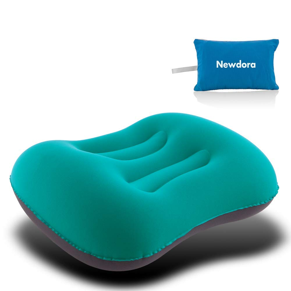 Newdora Ultralight Inflating Travel/Camping Pillows - Compressible, Compact, Inflatable, Comfortable, Ergonomic Pillow for Neck & Lumbar Support While Camp, Backpacking