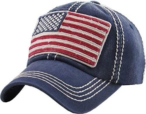BHM-205-AF-RWB-31 Mens Baseball Cap - American Flag (Red White Blue) - Navy