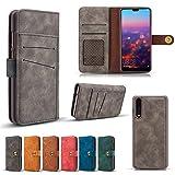 Scheam , Huawei P20 Pro Case Wallet Leather, Huawei P20 Pro Case Card Holder Kickstand, Huawei P20 Pro Wallet Case Surface, Surface Case Cover Huawei P20 Pro Grey
