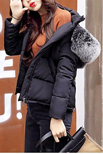 Abajo Cremallera De Parkas Invierno Chaqueta Acolchada Caliente Corta negro La Imitacion Casual Furry Capucha Mujer Con BwqnxEH0PA