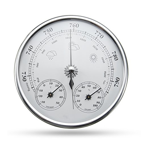 INNI Wall Hanging Weather Forecast Thermometer Hygrometer Air Pressure Meter-30~+50 0~100% Rh 960~1060hPa by INNI