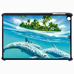 Customized Back Cover Case For iPad Air 5 Hardshell Case, Black Back Cover Design Dolphin Personalized Unique Case For iPad Air 5