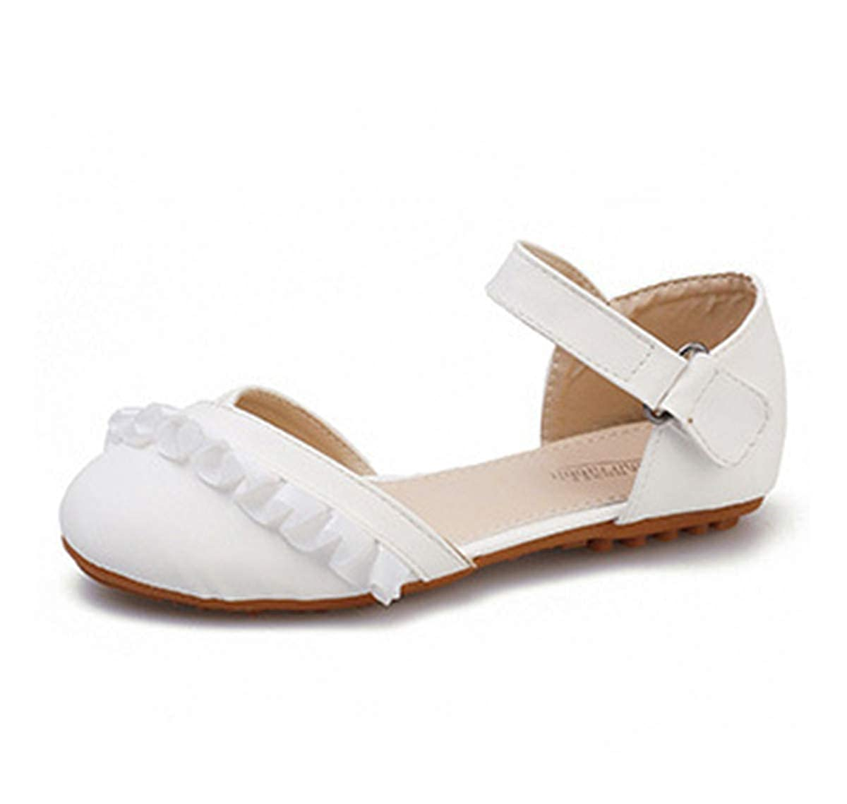 LLBubble Girls Leather Flat Shoes Round Toe Ankle Buckle Strap Ballet Kids Shoes Casual Mary Jane Princess Dress Pumps
