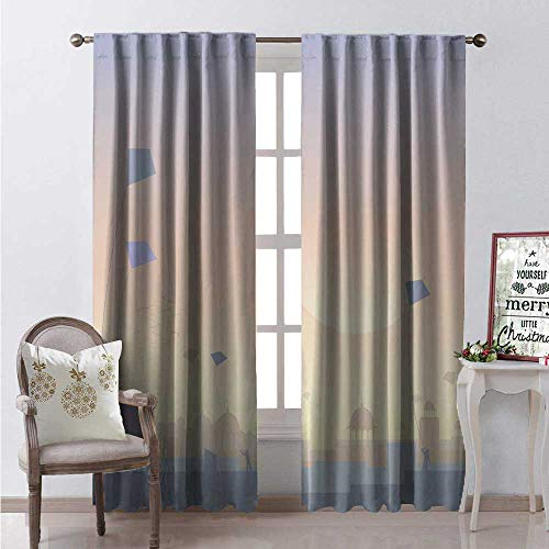 Hengshu Festival Window Curtain Fabric Architectural Skyline and People Flying Kites on Rooftops at Sun Illustration Drapes for Living Room W84 x L96 Multicolor ()