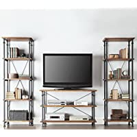 TRIBECCA HOME Myra Vintage Industrial Modern Rustic 3-piece TV Stand Set - Media Console and Tall Bookshelves Contemporary Rustic Living Room Furniture