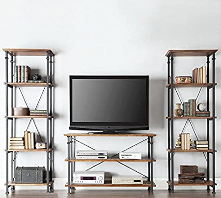 Amazoncom TRIBECCA HOME Myra Vintage Industrial Modern Rustic 3piece TV  Stand Set  Media Console And Tall Bookshelves Contemporary Living Room  Rustic Industrial Tv Stand81