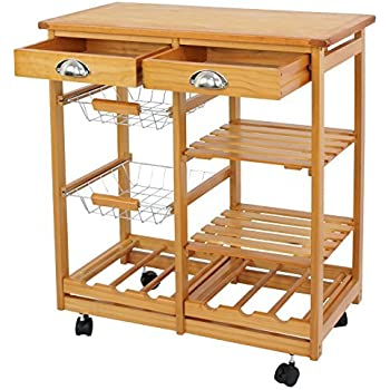 Amazoncom Clevr Rolling Bamboo Kitchen Cart Island Trolley