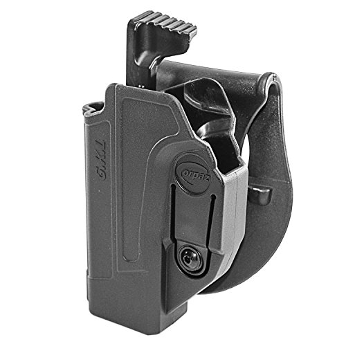 Orpaz Glock 19 Holster Fits Also Glock 17 Glock 22 Glock 23 Glock 26 Glock 27 Glock 34 & More (Left Hand, Level 2 Thumb Release Paddle Holster)