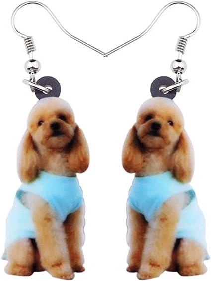 One Pair Acrylic Labrador Flower Drop Earrings Dog Lover Gift Idea
