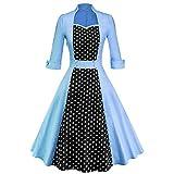AIMTOPPY Women Vintage Hepburn Style Large Size Seven-Point Sleeve Dress Flower Print Skirt