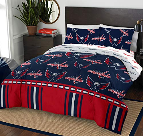 The Northwest Company NHL Washington Capitals Queen Bed in a Bag Complete Bedding Set -